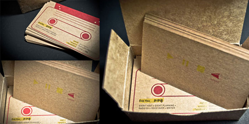 Kraft board business cards design and paper two colored screen printed design on a kraft chipboard piece designed by heidi mefferd colourmoves