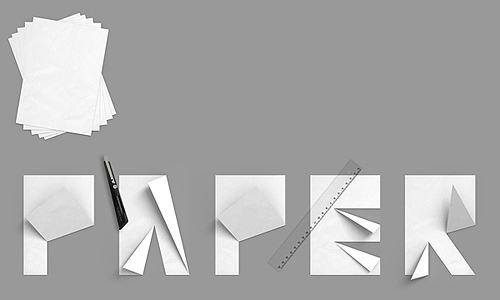 typothursday folded paper alphabet