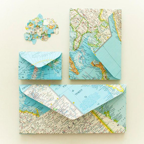 Diy maps partii design and paper woven maps notebook cover by ruby murray and envelopes made of maps by sallies solutioingenieria Image collections