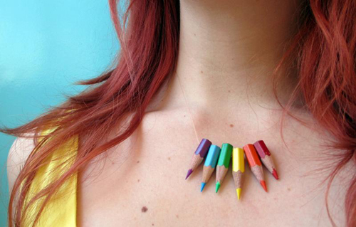 Not really a school supply, but a really fun DIY idea! a necklace made of colorful pencils. Via