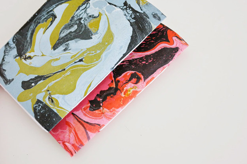These marbled notebooks are stunning! They are a bit more advanced crafting, but definitely worth the work. Via