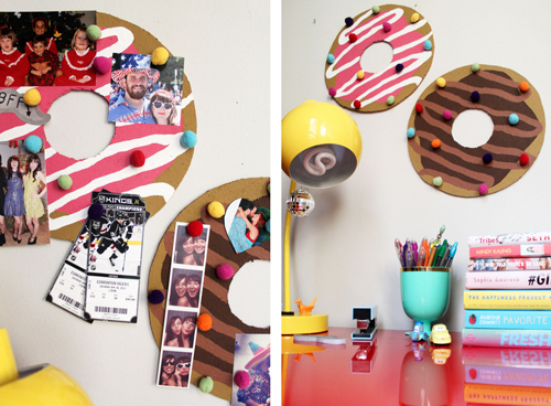 Donut bulletin board with sprinkle push pins, does it get anything cuter than that? Via