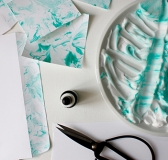 Paper Marbling with Shaving Cream and Ink