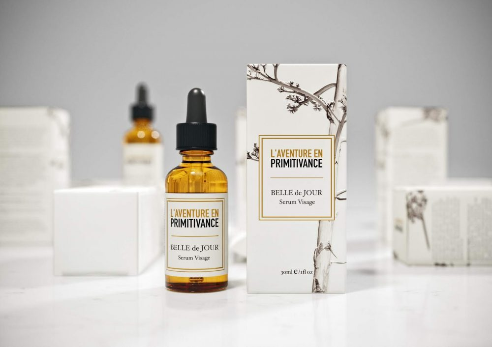 Alluring L'Aventure En Primitivance Skin Care Packaging by April Studio