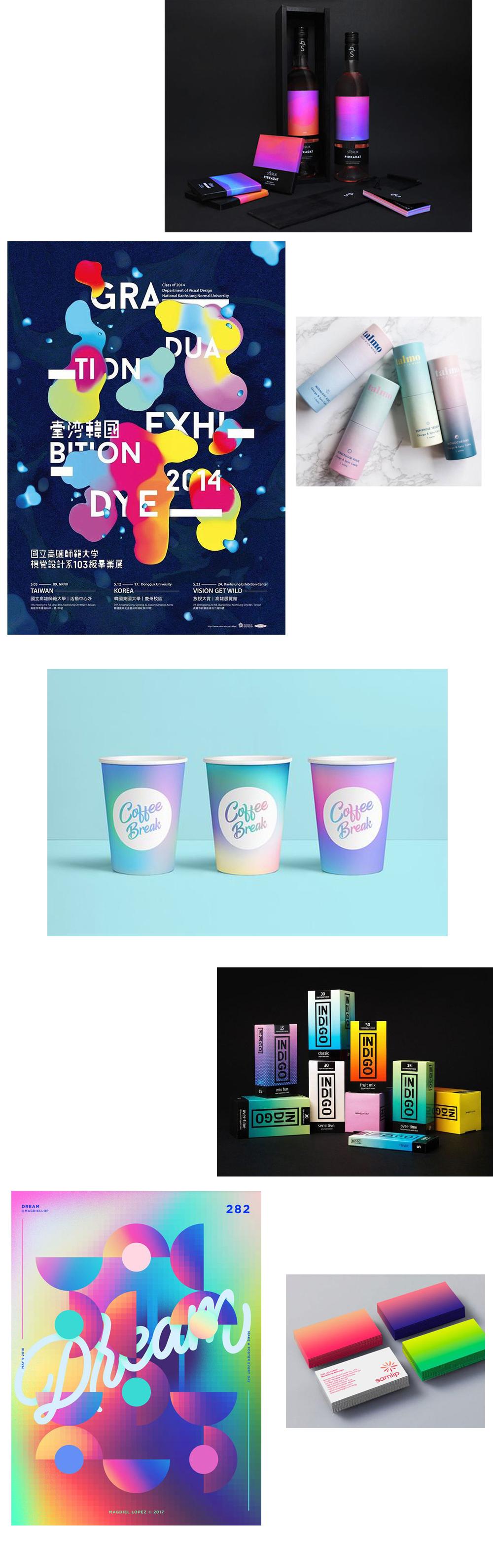 gradient trend in paper, branding and packaging