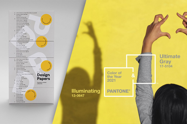 The Design Papers Collection in light grey and bright yellow echo the Pantone Color of the Year 2021 colors