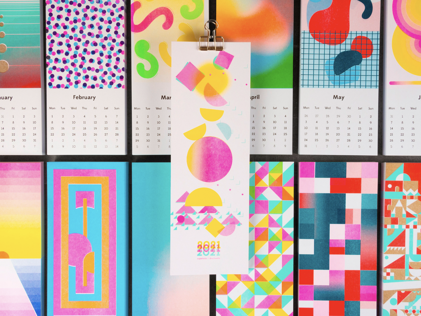 Risograph Wall Calendar by Superkolor in All the Colors of the Rainbow