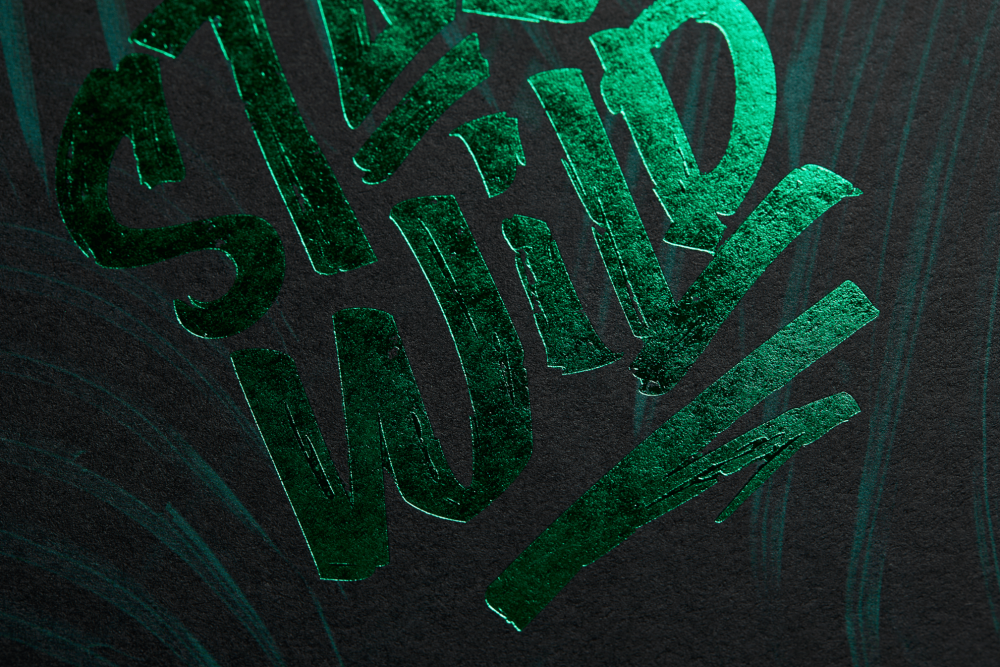 Green Hot Foil printing on Colour Style FRESH Forrest Green