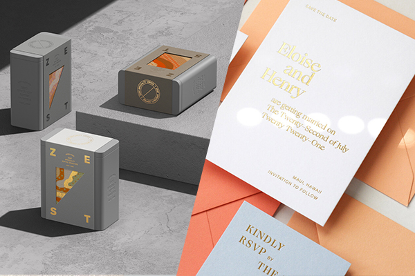 Beautiful examples of gold foil in use, by Pop & Pac Studio and Nicety Studio