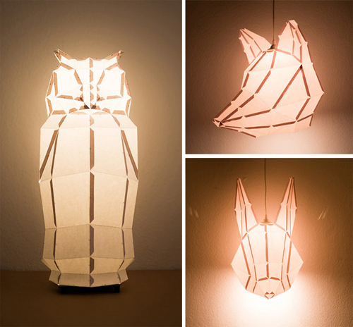 Rabbit and friends d i y paper lamps by mostlikely design and paper - Paper lantern chandelier ...